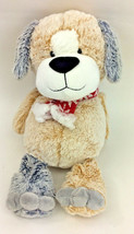 "Animal Adventure Puppy Dog Brown Grey Red Scarf Snowflake Plush 15"" - $19.24"