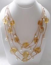Designer Tiered Neutral Tone Beaded Necklace Lightweight - $6.92