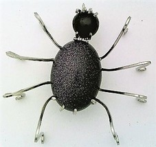 Blue Gold Stone Spider Stainless Steel Wire Wrap Brooch 10 - $28.00