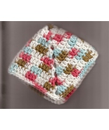 Crocheted Dish Cloth Wash Cloth Cotton Blue Coffee Melon  Variegated Set... - $5.70