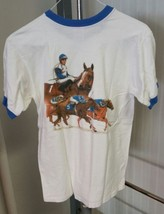 VTG Del Mar Thoroughbred Club Racetrack Ringer T-Shirt Horses 80'S Men's... - $29.58