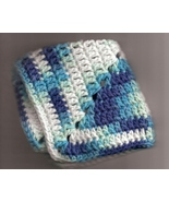 Crocheted Dish Cloth Wash Cloth Cotton Variegated Blues and White Set of 2  - $5.70
