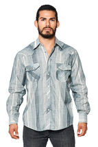 LW Men's Classic Checkered Striped Western Rodeo Pearl Snap Button Up Shirt image 8