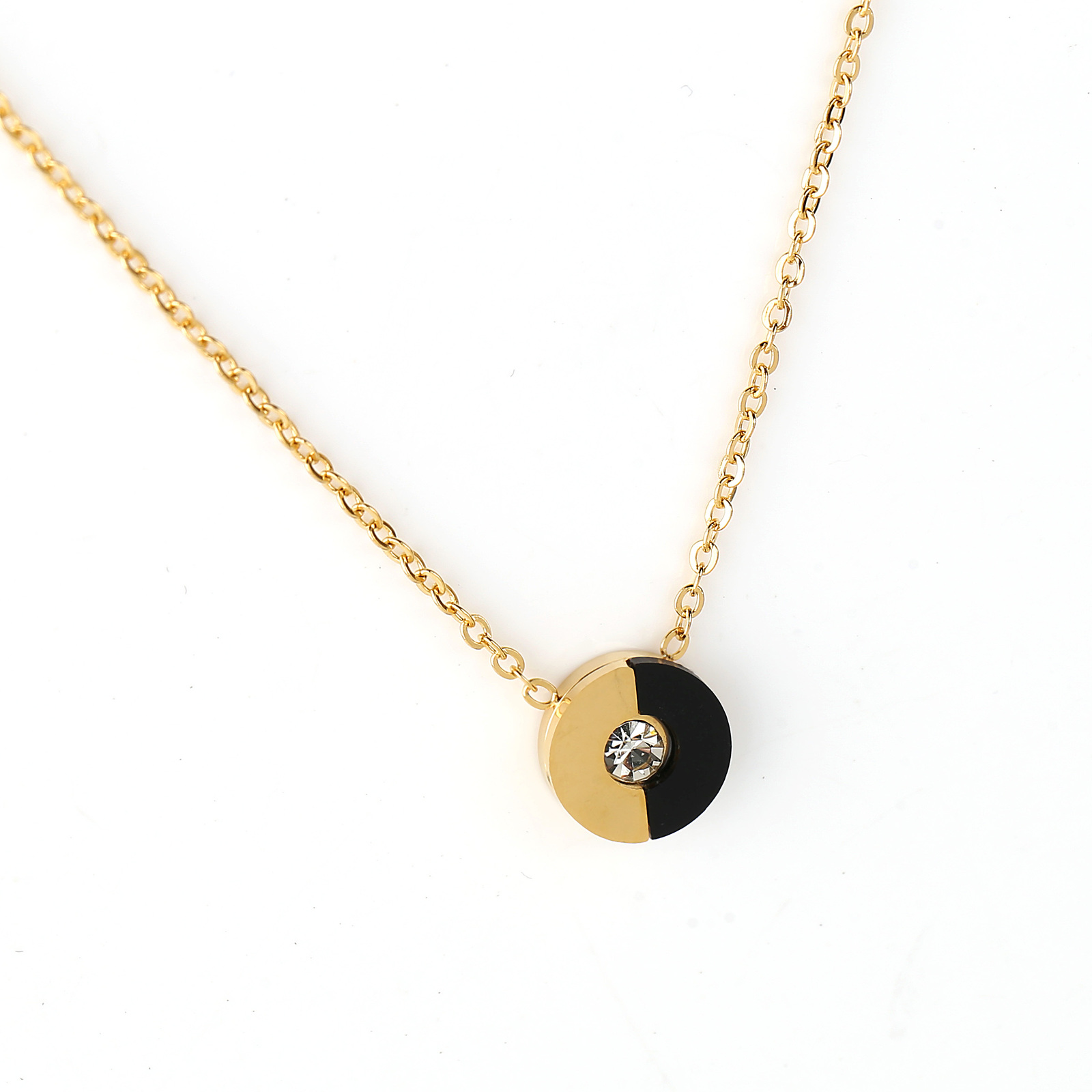 UE- Gold Tone & Jet Black Designer Pendant Necklace With Swarovski Style Crystal image 3