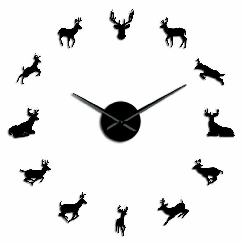 Primary image for Large Deer Head Wall Clock DIY Woodland Antlered Animals Decor Gift for Hunter