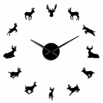 Large Deer Head Wall Clock DIY Woodland Antlered Animals Decor Gift for ... - $30.08+
