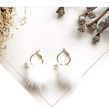 Hairy Earrings with Love Ornaments Simple Style for Daily Occasion - White - $13.75