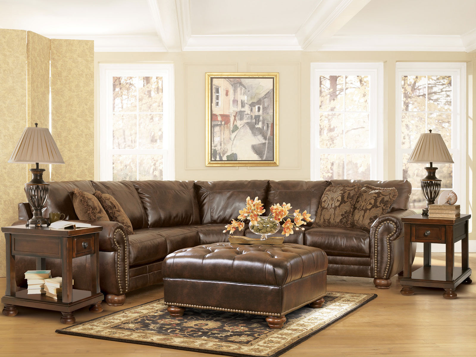 Bradford 2pcs Traditional Bonded Leather Sofa Couch Sectional Set Living Room Sofas