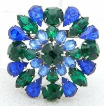 Vintage Silver Tone Blue Green Rhinestone 3D Flower Pin Brooch - $49.50