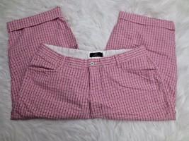 Lee Khakis Womens Pants 16P Capri Pink White Tattershall High Waist Stre... - $20.79