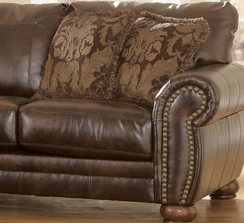 Traditional Living Room Leather Furniture: 2pcs TRADITIONAL BONDED LEATHER SOFA COUCH