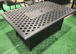 Fire pit coffee table cast aluminum outdoor patio furniture. image 2