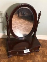 Vtg Ethan Allen Dark Wood Oval Mirror Jewelry Box Shaving Vanity Tabletop Drawer image 1
