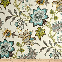 Waverly 0564954 Sun N Shade Jacobean Flair Turquoise Fabric by the Yard
