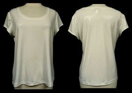 CHICO'S White Metallic Stye Scoop Neck Cap Sleeve Pullover Stretch Top S... - $14.69