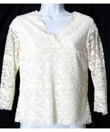 Coldwater Creek FLORAL LACE 3/4 Sleeve Cream Top Short Waist Size XSMALL XS - $25.90