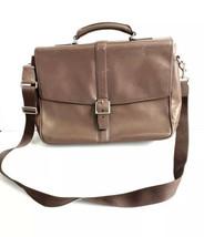 Coach Leather Lexington Bag Flap Laptop Business Briefcase Brown 571073 - $98.95