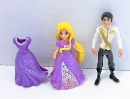 Disney Princess Polly Pocket 2 Magiclip Dresses Floral Rapunzel & Prince... - $15.68