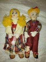 Vintage Handcrafted Fabric Dolls Boy and Girl Set Folk Art - $8.99
