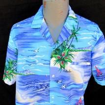 Vtg Royal Creations Hawaiian Aloha Shirt Size Large Diamond Head Outrigger - $34.99