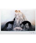 Women friends black white dogs 5 x 7 signed art deco Louis Icart  print - $1.84