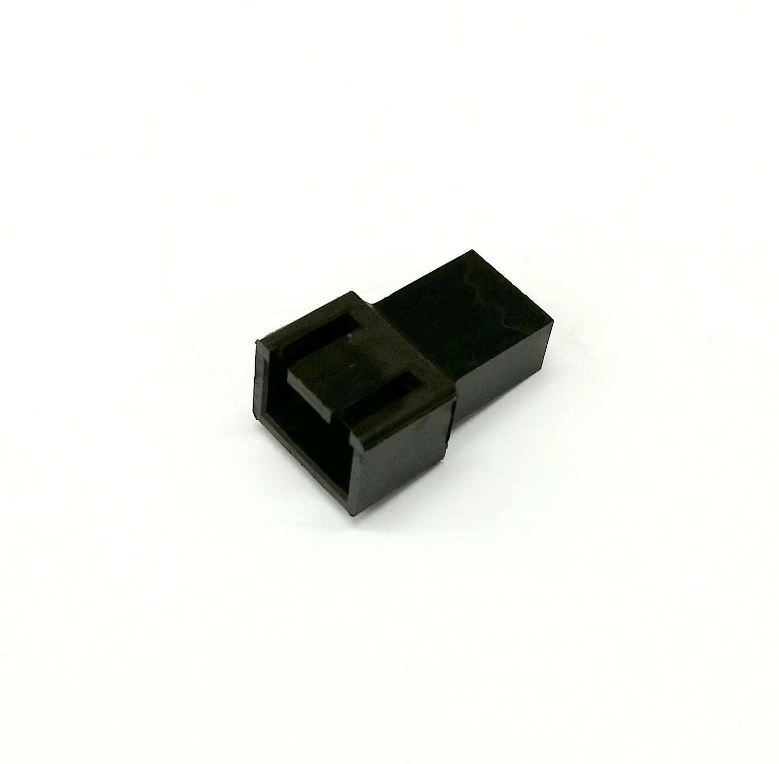 MALE & FEMALE 3 PIN PC FAN LED POWER CONNECTORS - 1 OF EACH- BLACK INC PINS