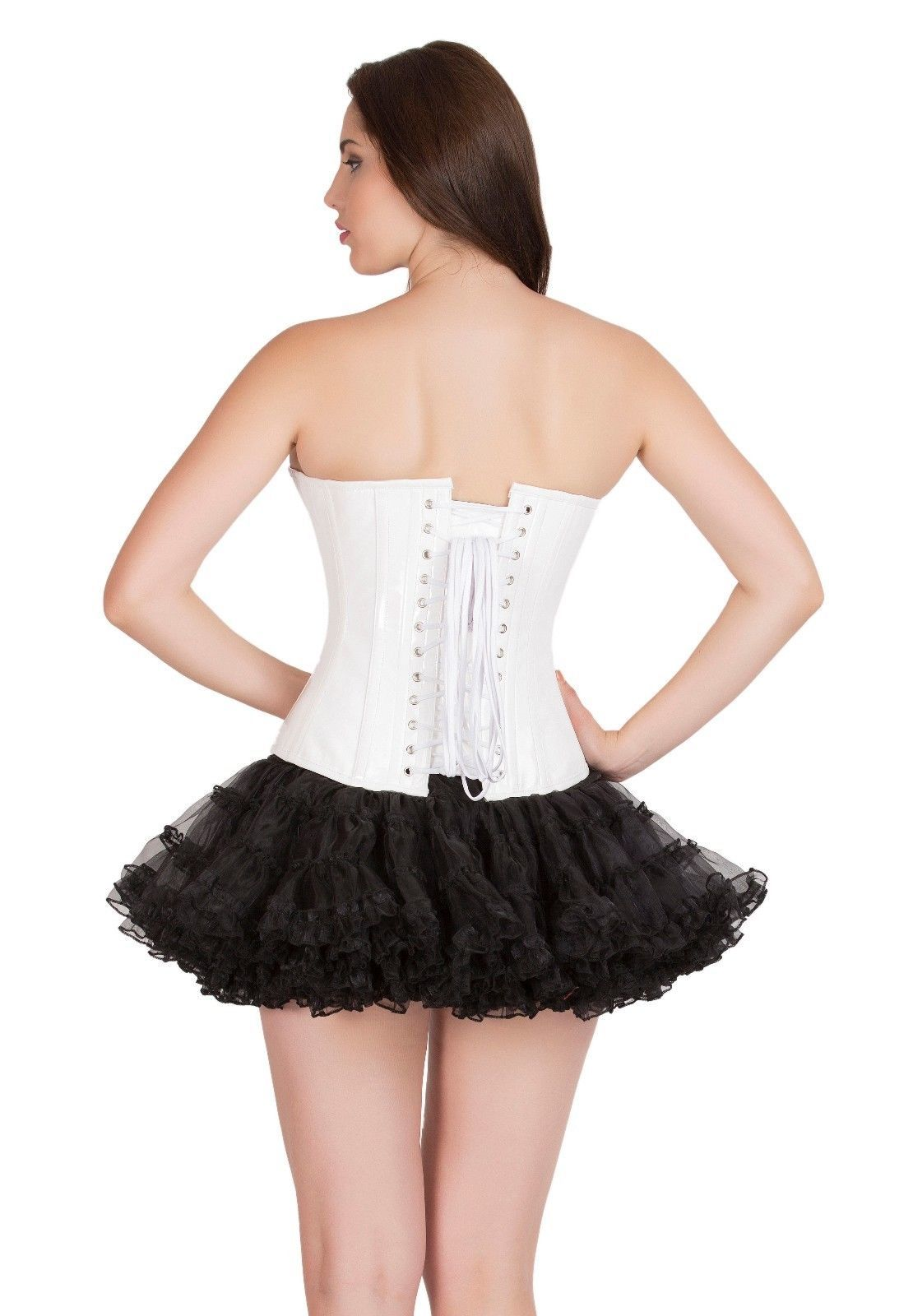 White Leather  Gothic Steampunk Bustier Waist Training Overbust Corset Top
