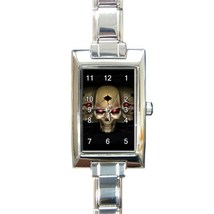 Ladies Rectangular Italian Charm Watch Three Skull Skeleton Goth Gif 328... - $11.99