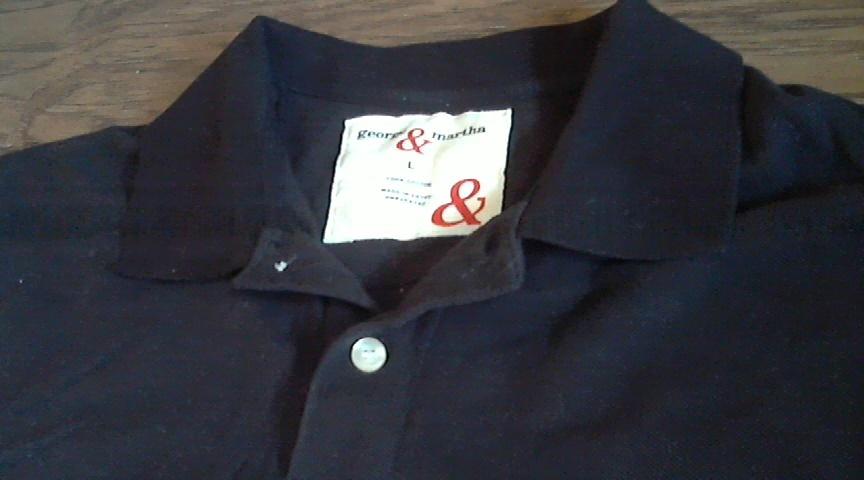 George & Martha man's black  short sleeve casual shirt size Large