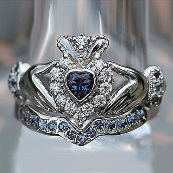 diamond claddagh wedding ring sets shape sapphire white gold fn 925 silver 3512