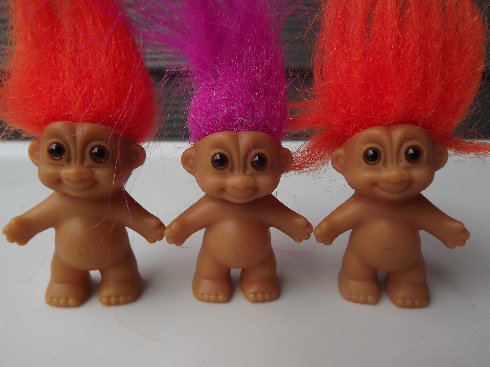 "Standing Baby 2"" Russ Troll Dolls Magenta and Orange Hair #18345 No Stickers"