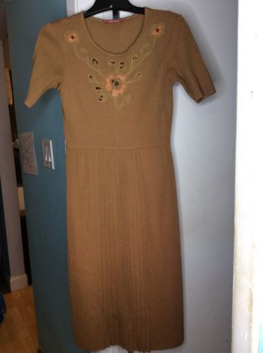 1f8137e18cd4 ... Vintage Parade 2 Pc Tan Cardigan Dress Floral Beaded Embroidered Set SZ  Small ...