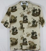 Joe Marlin Mens Medium Beige Button Up Hawaiian Shirt, Palm Trees, Tiki ... - $28.05