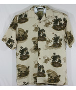 Joe Marlin Mens Medium Beige Button Up Hawaiian Shirt, Palm Trees, Tiki Hut (E6) - $28.05