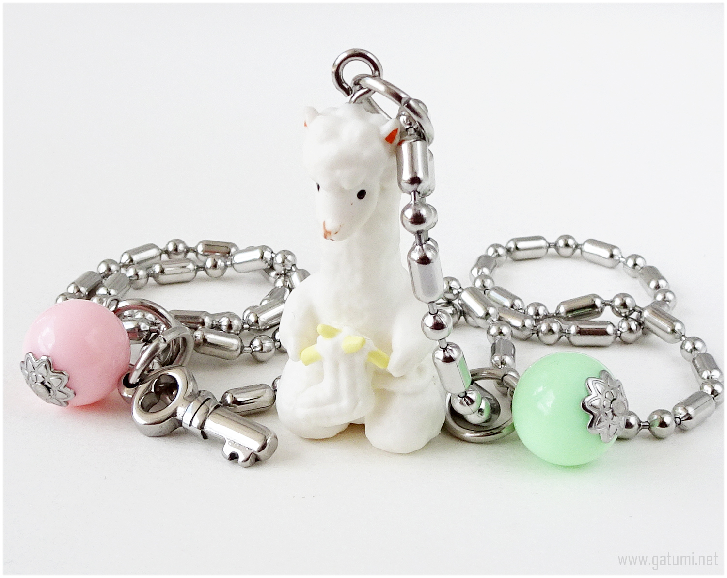 Primary image for Alpaca Figure Kawaii Necklace, Mint Green, Pastel Pink, Sweet Lolita