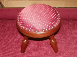 Round Mahogany Footstool Stool  (ST12) - $129.00