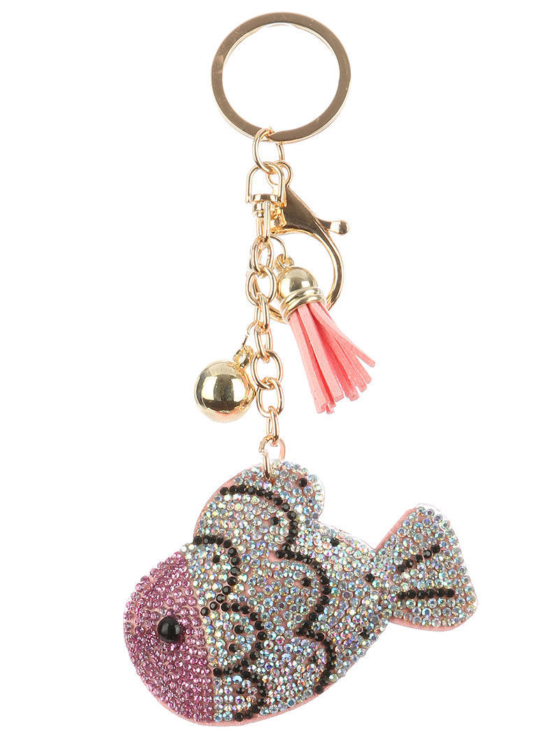 Tassel Bling Pave Crystal Fish Pillow Key Chain Handbag Charm Pink