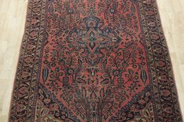 Sarouk Persian Wool Hand-Knotted Rug 5' x 7' Salmon Red Vintage Antique Red Rug image 12