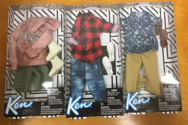 NEW Barbie Fashionistas KEN Lot of 3 Complete Outfits, Casual, Mattel - $30.95