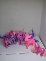 5 My Little Pony Pink and Purple Ponies with Pink Purple Brushable Hair Preowned - $14.69