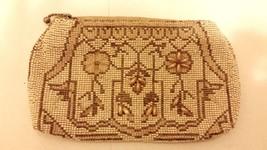 Vtg Micro Hand Beaded Purse Belt Loop Clutch Czeckoslovakia Cream Ivory ... - $14.02