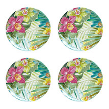 "Maui Melamine 11"" Dinner Plates Tropical Set of 4 Coastal Living Beach H... - $49.38"