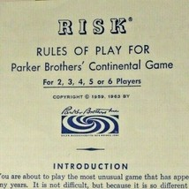 Risk Rules Of Play For Parker Brothers' Continental Game Copyright 1959, 1963 - $7.77