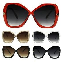 Womens Glitter Plastic Frame Butterfly Large Diva Sunglasses - $12.95