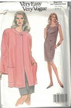 8256 UNCUT Vintage Vogue Sewing Pattern Misses Loose Fitting Jacket Dres... - $5.58
