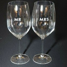KATE SPADE DARLING POINT MR & MRS Crystal Wine Glasses by Lenox - $33.24