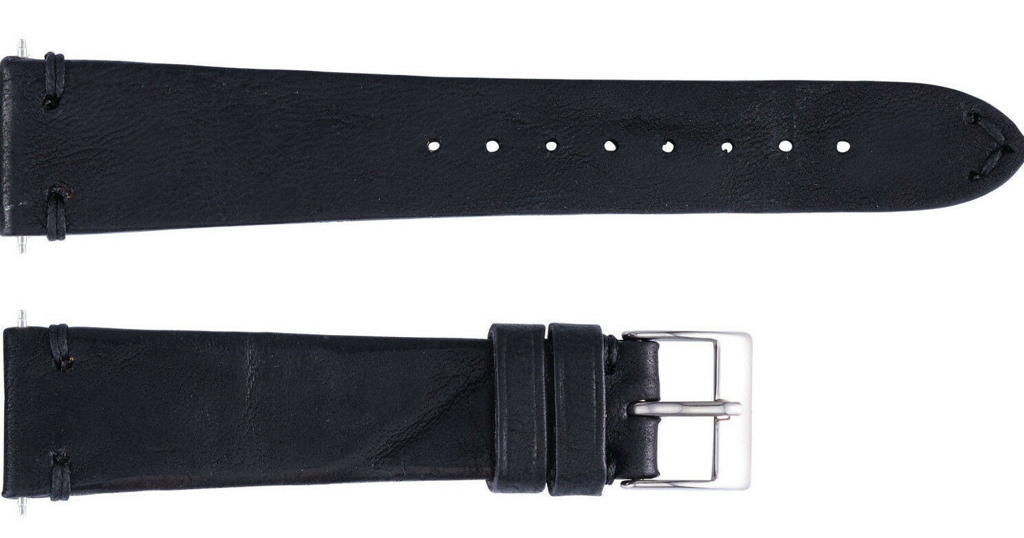 Primary image for 22mm Black Handmade Vintage Italian Leather Watch Band Strap