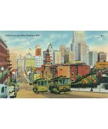 Cable Cars on a San Francisco Hill unused linen Postcard  - $5.99