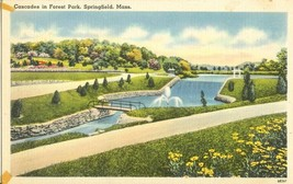 Cascades in Forest Park, Springfield Mass 1930s-1940s unused postcard  - $5.35