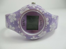 Lucky Sport Women's Digital Buckle Band Purple White Floral Watch - $20.00